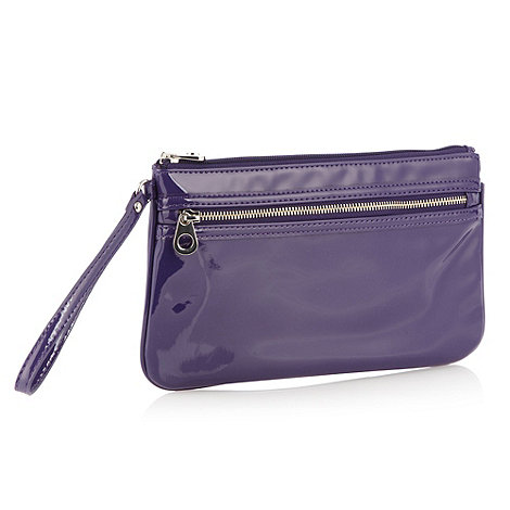 Red Herring - Purple patent faux leather zipped clutch bag
