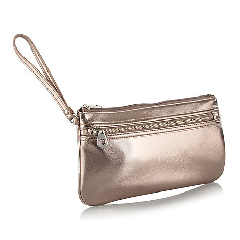 Red Herring - Rose metallic wristlet clutch bag