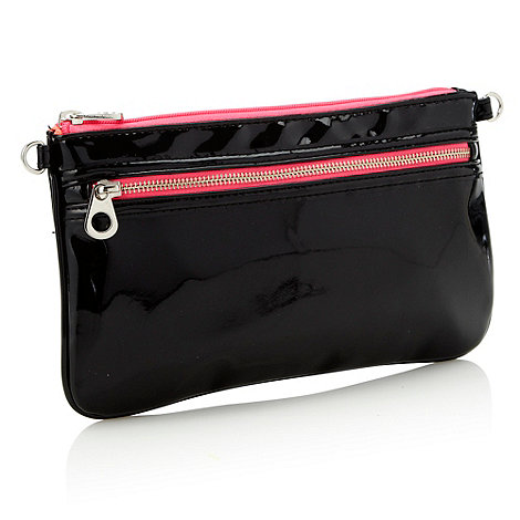 Red Herring - Black neon zipped clutch bag
