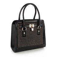 Black faux leather studded tote bag