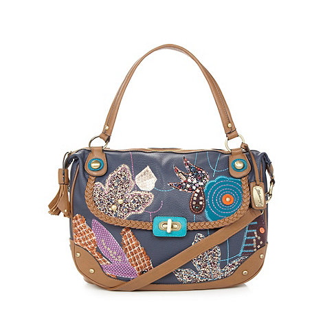 Mantaray - Navy embroidered shoulder bag