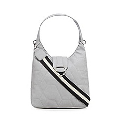 Red Herring - Grey quilted hobo bag
