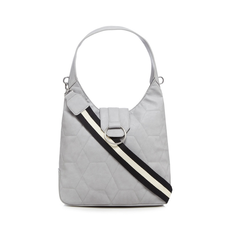 Red Herring Grey Quilted Hobo Bag, Womens