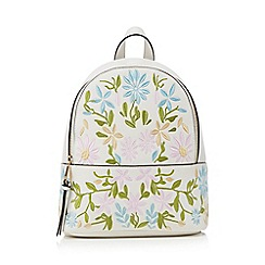 Red Herring - White floral embroidered backpack