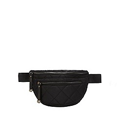 Red Herring - Black quilted bum bag