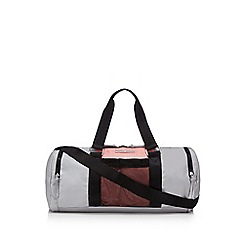 Red Herring - Grey and pink nylon holdall bag