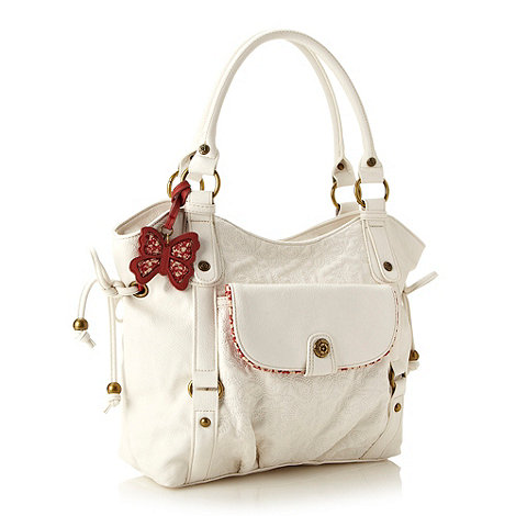 Mantaray - White stitch quilted tote bag