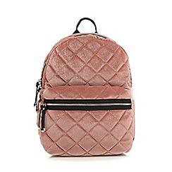 Red Herring - Light pink quilted velvet backpack