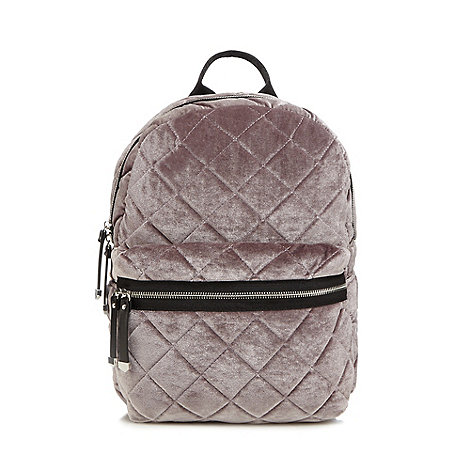 Red Herring - Lilac quilted velvet backpack