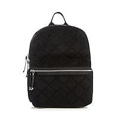 Red Herring - Black quilted velvet backpack