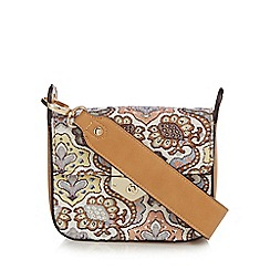 Red Herring - Tan embroidered cross body bag