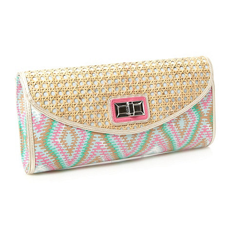 Red Herring - Green diamond twist lock clutch bag