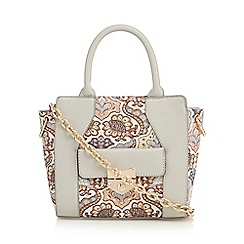 Red Herring - Grey floral embroidered grab bag