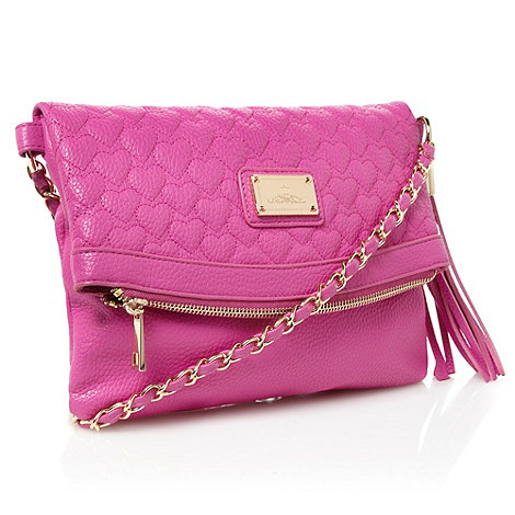 Red Herring - Pink heart quilted cross body bag