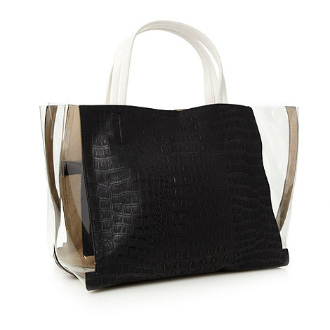 Red Herring - Perspex black faux crocodile skin shopper bag