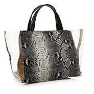 Perspex faux crocodile skin shopper bag