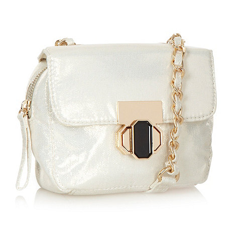 Red Herring - Cream metallic cross body bag