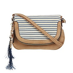 Call It Spring - Tan striped cross-body bag