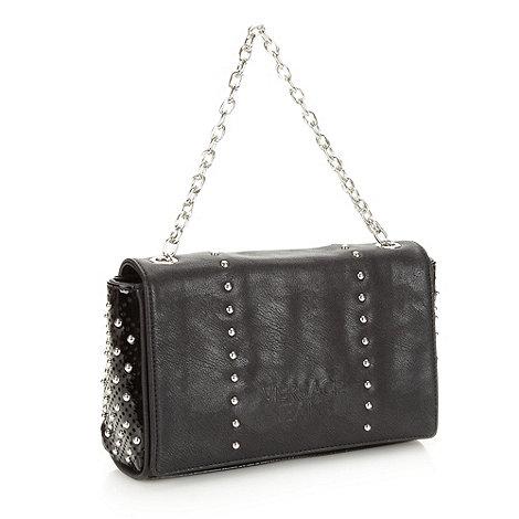Versace Jeans - Black studded flapover handbag