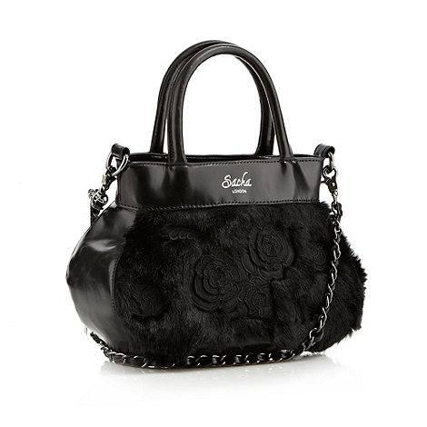 Sacha - Black rose applique faux fur grab bag