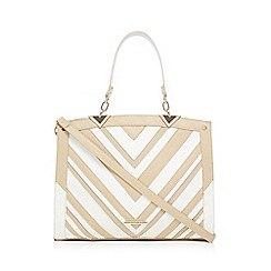 LYDC - White and natural chevron grab bag