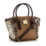 Brown faux snake trimmed grab bag