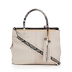 LYDC - Grey snakeskin print metal bar cross body bag
