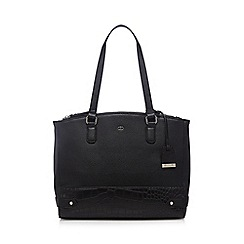 The Collection - Black mock snakeskin tote bag