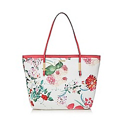 The Collection - White floral print shopper bag