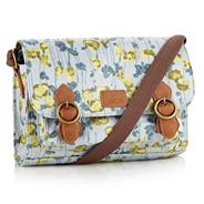 Blue Canvas Tulip Printed Satchel