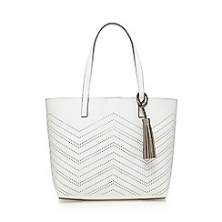 The Collection - White zig zag cut-out shopper bag