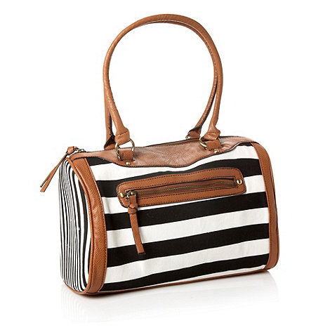 Call It Spring - Black +hence+ striped bowler bag