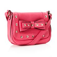 Bright pink 'stuchlik' studded bow cross body bag