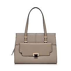 The Collection - Taupe lock front shoulder bag