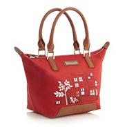 Red Leather Pictured Nylon Small Tote Bag