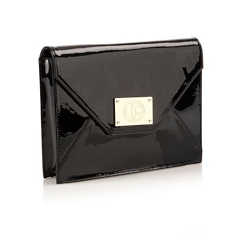 Jack French - Black envelope shaped patent leather clutch bag