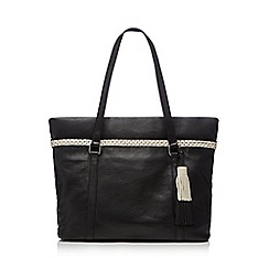 The Collection - Black contrasting braid shopper bag