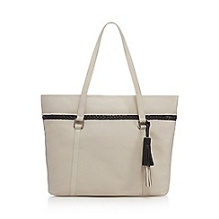 The Collection - Cream contrasting braid shopper bag