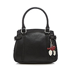 The Collection - Black bird charm leather grab bag