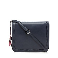 The Collection - Navy leather flap-over cross body bag