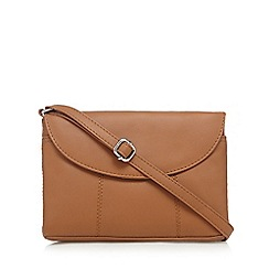 The Collection - Tan small flap over cross body bag