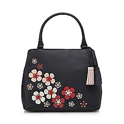 The Collection - Black leather floral appliqué grab bag