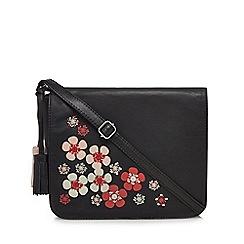 The Collection - Black leather floral appliqu  organiser bag