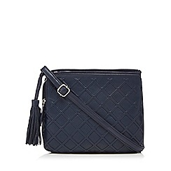 The Collection - Navy leather lattice textured organiser bag