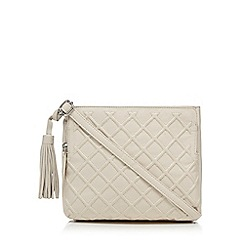 The Collection - Cream leather lattice textured organiser bag