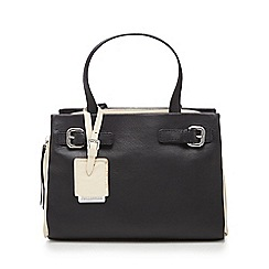 The Collection - Black colour block leather grab bag