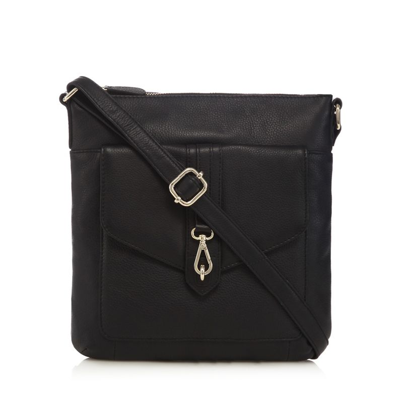 The Eighth Black leather buckle detail cross body bag