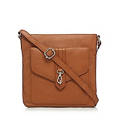 The Eighth - Tan leather buckle detail cross body bag