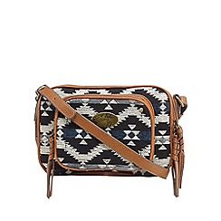 Mantaray - Tan aztec textured cross body bag