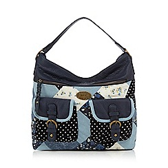 Mantaray - Navy patchwork shoulder bag